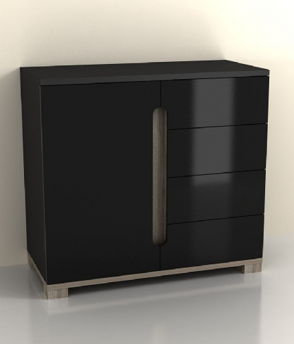 Costa Compact Sideboard Black Gloss - 2577